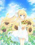 1girl air aiyan blonde_hair blue_eyes clouds cowboy_shot day dress flower hair_ribbon highres holding holding_flower kamio_misuzu looking_at_viewer outdoors ponytail ribbon sky smile solo standing sunflower white_dress white_ribbon