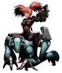 alternate_costume crawling gun metal_slug metal_slug_attack nadia_cassel official_art riding robot sneaking_suit submachine_gun tight twintails weapon