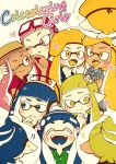 !! !? 3boys 6+girls ;) ;p ? army-kun_(splatoon) bangs beret blazer-chan_(splatoon) blonde_hair blue_eyes blue_hair blue_hat blue_tongue blush bobble-chan_(splatoon) bobblehat closed_eyes commentary_request cover cover_page dark_skin domino_mask doujin_cover dress_shirt english fangs forge-chan_(splatoon) glasses-kun_(splatoon) hair_ornament happamushi hat headphone-chan_(splatoon) headphones heart hood hoodie inkling light_smile long_hair mask multiple_boys multiple_girls octoglasses-chan_(splatoon) one_eye_closed open_mouth orange_eyes orange_hair orange_hat orange_tongue pink_eyes pink_hair pink_shirt pointy_ears raised_eyebrow rider-kun_(splatoon) sailor_white-chan_(splatoon) school_uniform shirt smile splatoon splatoon_(manga) straw-chan_(splatoon) sweatdrop thought_bubble tongue tongue_out wavy_mouth yellow_eyes