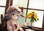 1girl bat_wings blue_hair brooch chair commentary cup flower hat hat_ribbon indoors jewelry looking_at_viewer mob_cap puffy_short_sleeves puffy_sleeves red_eyes red_ribbon remilia_scarlet ribbon short_sleeves solo sunflower teacup touhou vase window wings yukitourou