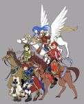 abel_(fire_emblem) absurdres animal_ears armor blue_eyes blue_hair blush boots cape cat_ears dc9spot elbow_gloves fingerless_gloves fire_emblem fire_emblem:_fuuin_no_tsurugi fire_emblem:_monshou_no_nazo fire_emblem_heroes gloves green_eyes green_hair highres hood horse long_hair male_focus open_mouth pegasus pegasus_knight polearm red_eyes redhead roy_(fire_emblem) sheeda short_hair smile summoner_(fire_emblem_heroes) sword thigh-highs weapon