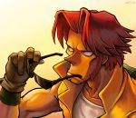 1boy dated gloves male_focus metal_slug pointy_nose red_eyes redhead sasisage sideburns solo sunglasses sunglasses_removed tarma_roving