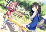 2girls :d absurdres bangs bare_arms bare_legs bare_shoulders bench black_hair black_ribbon blouse blue_dress blue_sky blunt_bangs blush building cropped day dirt dress dutch_angle eyebrows_visible_through_hair frills from_behind grass highres huge_filesize jewelry kantoku kurumi_(kantoku) lace looking_at_viewer looking_back miniskirt multiple_girls neck_ribbon necklace open_mouth original outdoors park pendant pink_hair plaid plaid_skirt playground ponytail red_shirt red_shoes ribbon sailor_dress scan school_uniform scrunchie seesaw shadow shirt shizuku_(kantoku) shoes short_sleeves sitting skirt sky smile sneakers spread_fingers stairs sunlight tree tree_shade twintails violet_eyes waving