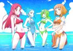4girls bikini blue_eyes blue_hair blue_sky bracelet breasts brown_eyes brown_hair cleavage clouds cloudy_sky fall_maiden flower freckles front-tie_bikini front-tie_top green_eyes green_hair hair_flower hair_ornament iesupa jewelry long_hair multiple_girls navel one-piece_swimsuit pale_skin panties ponytail red_eyes redhead rwby sarong scrunchie short_hair side-tie_panties sky spring_maiden summer_maiden swimsuit tied_hair underwear wading water winter_maiden wrist_scrunchie