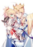 2girls absurdres artoria_pendragon_lancer_(fate/grand_order) bangs braid carrying cloak crown eyebrows_visible_through_hair fangs fate/apocrypha fate_(series) fur_collar gauntlets green_eyes half_updo highres horse light_smile multiple_girls open_mouth parted_lips petting ponytail saber saber_of_red sidelocks simple_background smile white_background yorukun