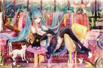 1girl aqua_eyes aqua_hair aqua_neckwear bai_qi-qsr bell black_cat black_footwear black_skirt boots cat character_name collared_shirt commentary_request copyright_name couch detached_sleeves earphones eyebrows_visible_through_hair full_body hatsune_miku indoors instrument long_hair looking_at_viewer lying necktie on_back piano pillow pleated_skirt shirt skirt sleeveless smile solo thigh-highs thigh_boots twintails very_long_hair vocaloid white_cat