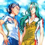 2boys bike_jersey bike_shorts black_hair blue_eyes blue_sky clouds eye_contact green_eyes green_hair hair_between_eyes hairband hand_on_hip highlights long_hair looking_at_another makishima_yuusuke male_focus mole mole_under_eye mole_under_mouth multicolored_hair multiple_boys redhead sky smile standing streaked_hair toudou_jinpachi two-tone_hair unzipped wavy_hair white_hairband yowamushi_pedal zakki