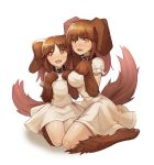 2girls absurdres animal_ears animal_hand black_collar blush breasts brown_fur brown_hair collar dog_collar dog_ears dog_girl dog_paws dog_tail dress eyebrows_visible_through_hair flat_chest highres looking_at_viewer medium_breasts monster_girl multiple_girls open_mouth paw_pose paws seiza simple_background sitting smile sookmo tail white_background white_dress yellow_eyes