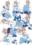 1boy :3 :d absurdres animal_ears ankle_ribbon arm_ribbon arm_support armpits arms_up bangs bare_shoulders black_legwear blue_bow blue_choker blue_dress blue_legwear blue_ribbon blue_shoes bob_cut bolo_tie bow bow_dress brown_hair cat_ears choker clenched_hands closed_mouth collarbone commentary_request cross-laced_clothes detached_sleeves dress dress_bow dress_lift eyebrows_visible_through_hair eyes_visible_through_hair felix_argyle frilled_dress frilled_legwear frills front-tie_top full_body hair_between_eyes hair_bow hair_ribbon highres jewelry jumping knee_up kneeling knees_together_feet_apart lace lace-trimmed_dress large_bow layered_dress leaning_forward legs_up looking_at_viewer looking_to_the_side lying male_focus momosuke_(ishakry) multiple_views on_side on_stomach open_mouth orange_eyes otoko_no_ko pantyhose parted_bangs pendant re:zero_kara_hajimeru_isekai_seikatsu ribbon seiza shoes short_dress short_hair shoulder_blades simple_background sitting smile spaghetti_strap squatting striped striped_legwear striped_ribbon thigh-highs thighhighs_over_pantyhose toeless_legwear upskirt vertical-striped_dress vertical-striped_legwear vertical_stripes white_background white_bow white_dress