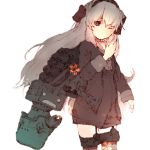 1girl amatsukaze_(kantai_collection) blurry cherry_blossoms clenched_hand depth_of_field dot_triangle garter_straps grey_hair gurin33 hair_tubes kantai_collection looking_at_viewer muted_color one_eye_closed red_eyes rensouhou-kun rigging simple_background sparkle thigh-highs white_background