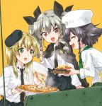 anchovy anzio_school_uniform beret black_hair black_necktie black_ribbon black_skirt blonde_hair braid cape carpaccio chef_hat drill_hair food girls_und_panzer green_eyes grey_hair hair_ribbon hat kuroi_mimei long_hair long_sleeves miniskirt necktie pantyhose pasta pepperoni_(girls_und_panzer) pizza pleated_skirt red_eyes ribbon shirt short_hair skirt spaghetti twin_drills twintails white_legwear white_shirt yellow_background