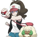 1girl black_jacket blue_eyes brown_hair closed_mouth hat jacket long_hair looking_at_viewer pink_hat poke_ball pokemon pokemon_(creature) pokemon_(game) pokemon_bw shirt smile smiley_face touko_(pokemon) white_hat white_shirt