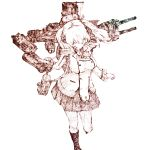 1girl bag binoculars cannon double-breasted epaulettes full_body gurin33 holding_binoculars jacket kantai_collection kashima_(kantai_collection) looking_at_viewer monochrome rigging searchlight shoulder_bag sidelocks simple_background skirt socks solo turret twintails white_background