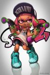 1girl bangs bike_shorts black_shorts blue_shoes copyright_name cross-laced_footwear dark_skin domino_mask dual_wielding fangs full_body highres hoshifune ink_tank_(splatoon) inkling inkling_(language) layered_clothing long_hair looking_to_the_side mask open_mouth paint_splatter pink_eyes pink_hair pointy_ears reflection shirt shoes shorts sleeveless sleeveless_shirt smile solo splat_dualies_(splatoon) splatoon standing tentacle_hair twitter_username white_shirt