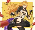 1girl arm_cannon blonde_hair boots breasts clenched_hands combat_boots drill_(emilio) ember_celica_(rwby) fingerless_gloves garter_straps gloves grin gun jewelry knee_pads long_hair medium_breasts pendant rwby shell_casing shotgun smile solo thigh-highs very_long_hair violet_eyes weapon yang_xiao_long