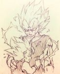2boys :o dragon_ball dragonball_z father_and_son hand_on_another's_back hug looking_at_another majin_vegeta male_focus monochrome multiple_boys open_mouth simple_background smile spiky_hair super_saiyan sweatdrop tkgsize traditional_media trunks_(dragon_ball) vegeta