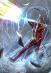 1boy absurdres attack clenched_hand commentary_request debris diffraction_spikes energy_beam full_body hands_up highres horns looking_away male_focus motion_blur one_leg_raised solo taro_(ultrataro) ultra_series ultraman_tarou ultraman_tarou_(series) wind