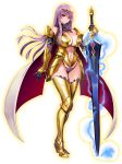 1girl armor bare_shoulders black_panties breasts cape claudette_(queen's_blade) cleavage closed_mouth elbow_gloves electricity faulds female full_body gloves greaves holding holding_sword holding_weapon large_breasts long_hair looking_at_viewer navel official_art oosaki_shin'ya panties purple_hair queen's_blade queen's_blade_unlimited redesign solo standing sword transparent_background underwear violet_eyes weapon