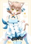 1boy :d animal_ears arm_ribbon artist_signature bangs bare_shoulders black_legwear blue_bow blue_choker blue_legwear blue_ribbon blush bob_cut bolo_tie bow bow_dress brown_hair cat_ears cat_tail catstudioinc_(punepuni) choker clenched_hand collarbone commentary cowboy_shot cross-laced_clothes detached_sleeves dress dress_bow eyebrows_visible_through_hair fang felix_argyle frilled_dress frills front-tie_top hair_between_eyes hair_bow hair_ribbon halftone halftone_background hand_up happy heart heart_background jewelry large_bow layered_dress legs_crossed looking_at_viewer male_focus open_hand open_mouth otoko_no_ko pantyhose parted_bangs paw_pose pendant re:zero_kara_hajimeru_isekai_seikatsu ribbon short_dress short_eyebrows short_hair simple_background slit_pupils smile solo spaghetti_strap spoken_star standing striped striped_legwear striped_ribbon tail thick_eyebrows thigh-highs thighhighs_over_pantyhose two-tone_background vertical-striped_legwear vertical_stripes white_background white_bow yellow_background yellow_eyes
