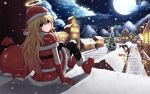 1girl ardenlolo arm_support artist_name belt black_legwear blonde_hair blue_eyes blush boots capelet christmas christmas_lights christmas_tree closed_mouth clouds cross eyebrows_visible_through_hair from_behind from_side full_moon fur_trim gabriel_dropout gloves hair_between_eyes halo hat head_tilt house long_hair moon mountain night night_sky outdoors red_boots red_gloves red_shirt red_skirt sack santa_costume santa_hat shirt silhouette sitting skirt sky solo tenma_gabriel_white thigh-highs very_long_hair watermark web_address wreath