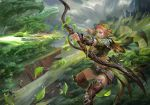 1girl april_dede archery armor arrow bangs belt belt_buckle bikini_armor boots bow_(weapon) breasts buckle cape cleavage cliff closed_mouth clouds dragon elf facepaint facial_mark fantasy fingerless_gloves flying forest gem gloves grass highres holding holding_weapon hood landscape large_breasts leaf leather leather_boots motion_blur mountain nature original outdoors plant pointy_ears quiver redhead rock shoulder_pads skirt sky solo thigh-highs thigh_boots tree wavy_hair weapon white_eyes