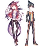 2boys adjusting_clothes adjusting_hat arms_at_sides black_hair crobat cross-laced_footwear groin hand_on_hip hat jewelry lemming_no_suana long_hair looking_at_viewer male_focus multiple_boys necklace orange_eyes pants personification pokemon seviper shoes sneakers standing