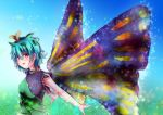1girl :d antennae blue_hair blush breasts brown_eyes butterfly_wings dress etarnity_larva from_side green_dress hair_between_eyes hair_ornament leaf_hair_ornament lesshat looking_at_viewer looking_to_the_side medium_breasts open_mouth short_hair smile solo touhou upper_body wings