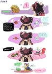 ! 2girls aori_(splatoon) basket black_gloves black_hair black_shirt catchphrase closed_mouth comic commentary drop_trap earrings english fingerless_gloves food food_on_head french_fries frown gloves halo highres horns hotaru_(splatoon) inkling inkzooka_(splatoon) jewelry multiple_girls object_on_head pointy_ears shirt shoulder_angel shoulder_devil sleeveless sleeveless_shirt splatoon spoken_exclamation_mark squid sushi sweatdrop tentacle_hair wong_ying_chee