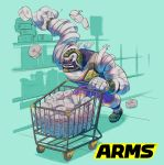 1boy aqua_background arms_(game) bandage black_sclera highres ishikawa_masaaki logo long_arms male_focus master_mummy_(arms) monster_boy mummy official_art purple_skin red_eyes shopping_cart simple_background solo wrestling_outfit
