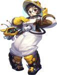 1girl alternate_costume bangs beekeeper_mei black-framed_eyewear boots breasts brown_boots brown_eyes brown_hair canister drone elbow_gloves floating full_body gamza glasses gloves hand_on_headwear hand_on_own_chest hands_up helmet highres hose knee_boots legs_apart lips looking_at_viewer machinery mei_(overwatch) overwatch parted_lips pink_lips robot round_glasses shoes snowball_(overwatch) solo spiked_shoes spikes standing swept_bangs teeth white_background yellow_gloves