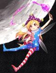 1girl american_flag_dress american_flag_legwear blonde_hair clownpiece dress fairy_wings fire full_body hat highres jester_cap ksk_(semicha_keisuke) long_hair looking_at_viewer moon neck_ruff pantyhose polka_dot red_eyes short_dress short_sleeves solo star star_print striped tongue tongue_out torch touhou wings