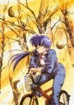 1girl 90s arm_support bicycle blue_hair crossed_arms ground_vehicle highres jacket leaf leaning_forward long_hair oldschool open_clothes open_jacket original outdoors red_eyes riding_bike sleeves_past_elbows smile solo urushihara_satoshi wind