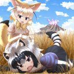 2girls :d absurdres all_fours animal_ears black_hair black_skirt blonde_hair blue_sky bow bowtie brown_eyes clouds commentary_request common_raccoon_(kemono_friends) day eyebrows_visible_through_hair fang fennec_(kemono_friends) fox_ears fox_tail gloves grass highres kakutasu_(akihiron_cactus) kemono_friends mountain multicolored_hair multiple_girls on_ground open_mouth outdoors pleated_skirt puffy_short_sleeves puffy_sleeves raccoon_ears raccoon_tail sandstar savannah short_hair short_sleeves skirt sky smile tail white_hair