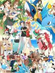 ! 2boys 5girls :d ;d ^_^ alolan_sandslash alolan_vulpix alternate_costume apron bag bandanna beanie bike_shorts blouse blue_eyes bounsweet brown_hair closed_eyes collared_shirt comfey crossed_arms cutiefly dark_skin eating flower fomantis food full_body hairband haruka_(pokemon) haruka_(pokemon)_(remake) hat highres lapras lillie_(pokemon) litten lycanroc malasada map mizuki_(pokemon_sm) multiple_boys multiple_girls nuku one_eye_closed open_mouth pants pokemon pokemon_(creature) pokemon_(game) pokemon_oras pokemon_sm popplio rowlet sharpedo shirt shorts smile starly sunglasses sunglasses_on_head surfing sweatdrop tank_top team_skull team_skull_grunt thought_bubble walking water yuuki_(pokemon)
