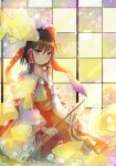 1girl ascot bow brown_eyes brown_hair bubble colorful fish gohei goldfish hair_bow hair_tubes hakurei_reimu kazu_(muchuukai) light light_rays looking_at_viewer seiza sitting sliding_doors solo touhou
