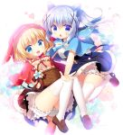 2girls :d animal_ears animal_hood basket blonde_hair bloomers blue_eyes blue_hair blue_skirt blush bow brown_shoes brown_skirt bunny_hood cat_ears chestnut_mouth commentary_request easter_egg eyebrows_visible_through_hair fake_animal_ears fang flower frilled_skirt frills gochuumon_wa_usagi_desu_ka? hair_between_eyes hair_ornament heart high-waist_skirt highres hood hooded_capelet kafuu_chino kirima_sharo layered_skirt leaf loafers looking_at_viewer multiple_girls open_mouth outstretched_arms sasai_saji shirt shoes skirt smile sparkle tail thigh-highs underwear white_legwear white_shirt wolf_tail x_hair_ornament
