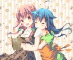 2girls :3 :d ^_^ ahoge apron bangs blue_hair blush book brown_eyes brown_hair closed_eyes commentary_request doughnut dress food green_scrunchie green_shirt hair_flaps hair_ornament hairpin hinako_note holding holding_book hug hug_from_behind long_hair looking_at_viewer low_twintails march-bunny multiple_girls natsukawa_kuina open_book open_mouth orange_apron plaid plaid_dress sakuragi_hinako scrunchie shirt short_sleeves smile striped twintails upper_body vertical-striped_background vertical_stripes