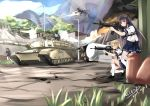 5girls absurdres aircraft allenes assault_rifle black_hair blonde_hair blue_eyes brown_eyes brown_hair clouds day grey_eyes grey_hair ground_vehicle gun helicopter highres long_hair m1_abrams military military_vehicle motor_vehicle mountain multiple_girls original rifle school_uniform serafuku skirt sky tank traffic_light tree weapon