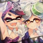 ! +_+ 2girls aori_(splatoon) armpits bare_shoulders black_dress black_hair blush breasts cleavage closed_eyes collarbone conomi-c5 cousins domino_mask dress earrings eyebrows_visible_through_hair fangs gloves grey_hair hair_ornament half-closed_eyes hotaru_(splatoon) jewelry looking_at_viewer mask mole mole_under_eye multiple_girls open_mouth orange_eyes pointy_ears short_eyebrows sleeveless sleeveless_dress smile speech_bubble splatoon strapless strapless_dress symbol-shaped_pupils teeth text twitter_username unitard upper_body v