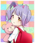 1girl backpack bag blush brown_eyes checkered checkered_background commentary_request from_behind hair_ribbon kumamakura_kurumi long_hair looking_at_viewer looking_back musaigen_no_phantom_world open_mouth purple_hair randoseru ribbon school_uniform solo star starry_background stuffed_animal stuffed_toy suzuki_moeko teddy_bear twintails