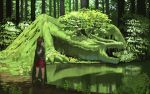 1girl animal_ears boots brown_hair cape cloak commentary_request dragon fantasy flower forest gloves green green_cape lake landscape leather leather_boots looking_afar nature original red_skirt scenery skirt tree wasabi60
