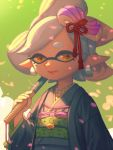 +_+ 1girl artist_name bellhenge bound cherry_blossoms deviantart deviantart_username domino_mask earrings eyebrows grey_hair hair_ornament hotaru_(splatoon) japanese_clothes jewelry kimono lipstick long_sleeves looking_at_viewer makeup mask mole mole_under_eye nintendo nintendo_ead pink_lips pointy_ears realistic short_eyebrows smile solo splatoon splatoon_2 squid_girl symbol-shaped_pupils tentacle_hair tied_up umbrella upper_body wide_sleeves yellow_eyes
