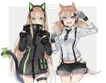 >:d 2girls :d a821 arm_up bangs black_gloves black_shorts blonde_hair blue_eyes blue_panties bow brown_hair cat_ear_headphones cat_tail cowboy_shot fingerless_gloves girls_frontline gloves green_bow green_eyes green_ribbon grey_gloves hair_between_eyes half_gloves hands_up headphones idw_(girls_frontline) jacket long_hair looking_at_viewer multiple_girls open_mouth panties paw_pose ribbon short_shorts shorts sleeves_rolled_up smile sparkle speech_bubble suspender_shorts suspenders tail tail_bow tail_ribbon teeth thigh_strap tmp_(girls_frontline) twintails underwear very_long_hair