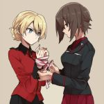 2girls bdsm blonde_hair blue_elfin_(flower_knight_girl) blush bondage bound braid brown_eyes brown_hair darjeeling female french_braid girls_und_panzer kuromorimine_military_uniform multiple_girls nishizumi_maho ree_(re-19) restrained ribbon ribbon_bondage short_hair sketch st._gloriana's_military_uniform sweatdrop tan_background upper_body yuri