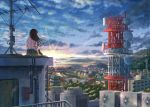 1girl bird clouds cloudy_sky commentary evening flock from_behind green_skirt highres hill horizon k_ryo landscape long_hair on_roof original outdoors pink_shirt radio_antenna radio_tower scenery shirt short_sleeves sitting skirt sky solo sunset town