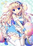 1girl :d animal_ears apron blonde_hair blue_bow blue_eyes blue_ribbon blue_shoes blue_skirt blush bow bunny_tail commentary_request corset easter_egg eyebrows_visible_through_hair frilled_cuffs frilled_shirt frilled_skirt frills hair_between_eyes hair_bow head_tilt heart highres holding holding_egg kneeling layered_skirt long_hair looking_at_viewer maid_apron maid_headdress mary_janes neck_ribbon open_mouth original oversized_object puffy_short_sleeves puffy_sleeves rabbit_ears ribbon sasai_saji shirt shoes short_sleeves skirt smile solo tail thigh-highs white_bow white_legwear white_shirt wrist_cuffs