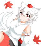 1girl absurdres animal_ears bare_shoulders blush_stickers breasts detached_sleeves hat highres inubashiri_momiji leaf maple_leaf medium_breasts medium_skirt pom_pom_(clothes) red_eyes ribbon_trim shirt short_hair silver_hair simple_background sleeveless sleeveless_shirt solo tail tokin_hat touhou turtleneck white_background white_shirt wide_sleeves wolf_ears wolf_tail