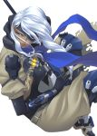 1girl ana_(overwatch) bodysuit breasts brown_eyes dark_skin eyepatch gun ken19941028 medium_breasts old_woman overwatch rifle sniper_rifle tagme weapon white_hair
