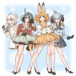 4girls adapted_costume alpaca_ears alpaca_suri_(kemono_friends) alpaca_tail animal_ears bangs bird_tail black_eyes black_gloves black_hair blonde_hair bow commentary eyebrows_visible_through_hair feathers from_side full_body gloves gradient_hair grey_gloves grey_hair grey_shirt grey_skirt hair_bow hair_feathers head_tilt high_heels highres horizontal_pupils kaban_(kemono_friends) kemono_friends large_bow leaning_forward legs legs_apart long_hair long_sleeves looking_at_viewer low_ponytail multicolored_hair multiple_girls parted_lips petticoat ponytail red_shirt serval_(kemono_friends) serval_ears serval_tail shirt shoebill_(kemono_friends) short_hair skirt smile suzushiro_(suzushiro333) tail white_gloves white_shirt white_skirt yellow_eyes yellow_skirt