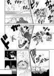 2girls comic elbow_gloves failure_penguin fingerless_gloves gloves greyscale hakama_skirt headgear japanese_clothes kaga_(kantai_collection) kantai_collection long_hair miss_cloud monochrome multiple_girls muneate muscle nagato_(kantai_collection) short_sidetail sweatdrop tamago_(yotsumi_works) tasuki thigh-highs translation_request uppercut |_|
